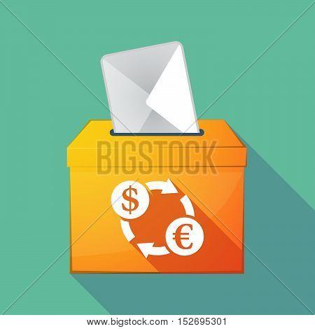 Long Shadow Ballot Box With A Dollar Euro Exchange Sign