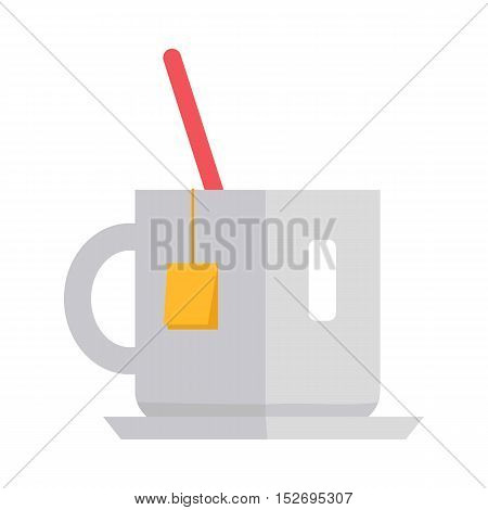 Cup of tea vector. Flat style design. White teacup with tea bag and spoon. Teatime, break, breakfast drinks concept illustration for cafe, shop ad prints, app icons, web design. Isolated on white.