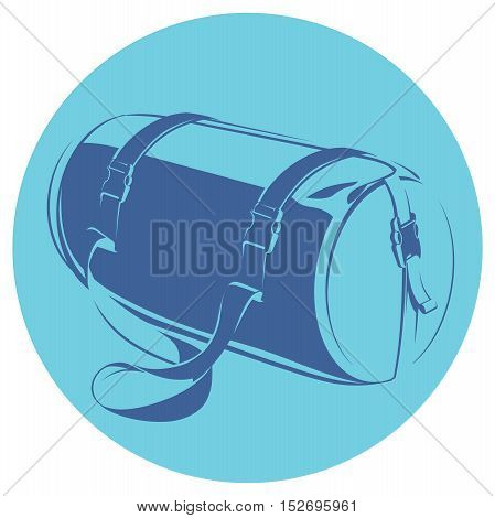 monochromatic icon of a sports bag on blue background