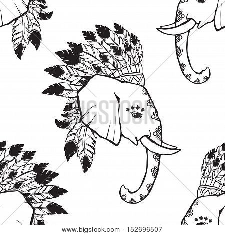 Elephant head with american indian chief headdress pattern. Print for clothes, cards, picture banner for websites. Ethnic Indian ornaments.