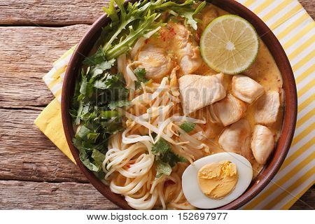 Asian Laksa Soup With Chicken, Egg, Noodles, Sprouts And Coriander. Horizontal Top View