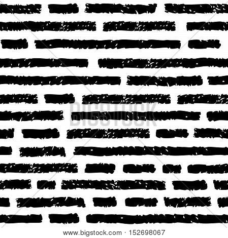 Vector seamless pattern. Black horizontal lines with discontinuities. Imitation text. Charcoal or pencil drawing. Grunge texture of fabric background print and web