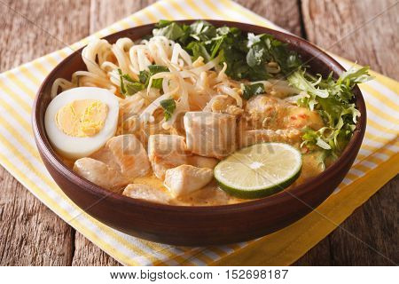 Malaysian Laksa Soup With Chicken Close Up In A Bowl. Horizontal