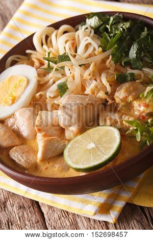 Laksa Soup With Chicken, Egg, Rice Noodles, Bean Sprouts And Coriander Close-up. Vertical