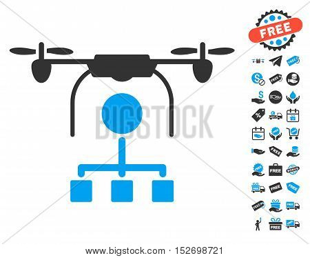 Drone Distribution icon with free bonus clip art. Vector illustration style is flat iconic symbols blue and gray colors white background.