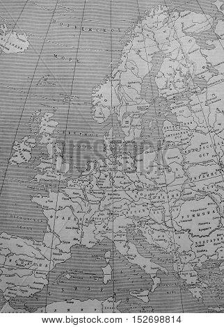 "Kazakhstan, Ust-Kamenogorsk, 20 october, 2016: Political map of Europe in ""Great Soviet Encyclopedia"""