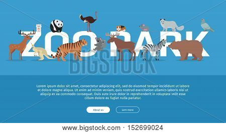 Zoo Park banner. Various animals stands or sits near letters. Poster for the zoo with deer, kangaroo, ostrich, tiger, koala, zebra, bear, fox, panda, mouse, moose on blue background. Website template