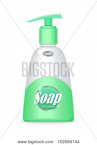 Soap bottle with spreader isolated. Cosmetic product flasks with logo or symbol on the nameplate. Reservoir with label. Part of series of decorative cosmetics items. Vector illustration