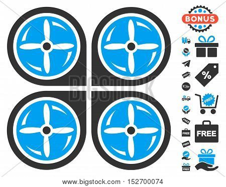 Nanocopter Screws Rotaion icon with free bonus pictograph collection. Vector illustration style is flat iconic symbols blue and gray colors white background. poster