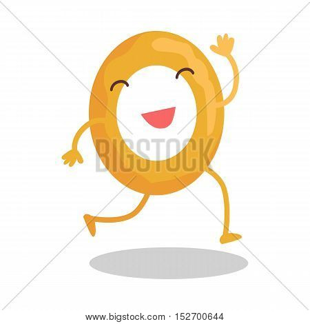 Donut running away isolated on white. Funny food story conceptual banner. Fresh cooked donut character in cartoon style. Happy meal for children. For childish menu poster. Vector design illustration