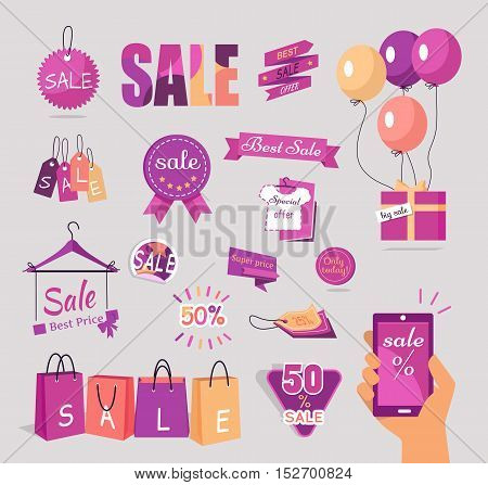 Collection of sale stickers and tags. Flat design vector. Set of big sale, best price, best offer concepts in brand pink colors. For store discounts advertising. Product label design. Black friday
