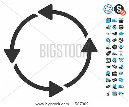Rotation CCW icon with free bonus clip art. Vector illustration style is flat iconic symbols blue and gray colors white background.