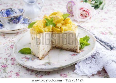 Lemon Cheesecake on Plate