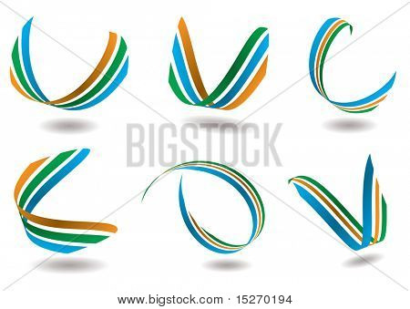 Collection of six ribbon design that could be used as a logo