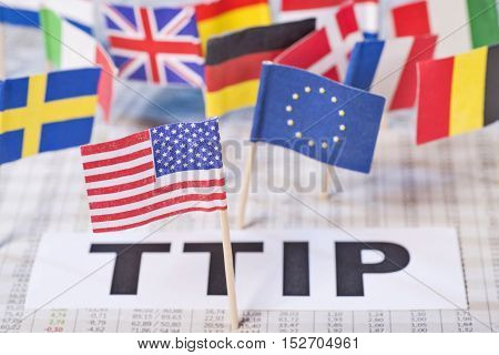 Symbol Photo Transatlantic Free Trade Agreement TTIP