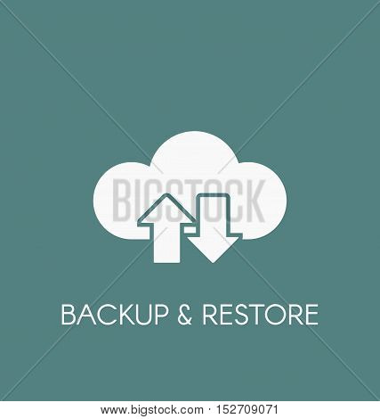Data cloud icon. Backup and restore sign. poster