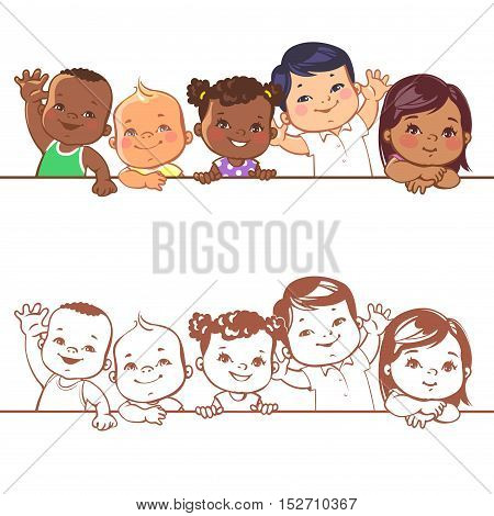 Multinational baby portrait. Multi-ethnic set of babies. Diverse nationalities. Toddlers holding blank banner. Vector illustration for school or kindergar en