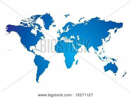 Mapa del mundo ilustrado azul y blanco con fondo blanco
