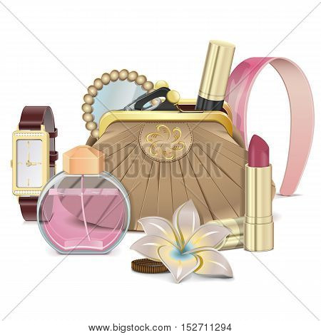 Vector Purse with Accessories isolated on white background