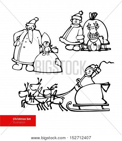 Vector russian Santa Claus illustrations set with Deer.