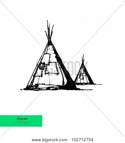 Vector Hand Drwan American Wigwam Illustration. Black on White Background.