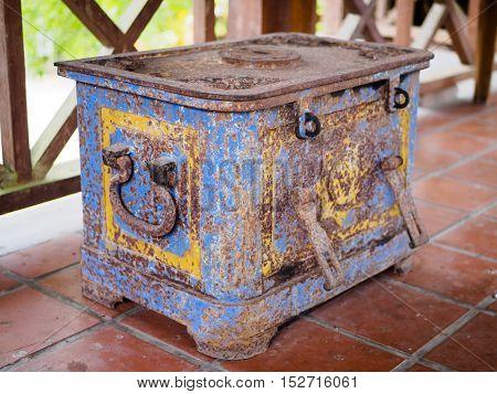 Old iron chest at Suan Nai Dum Chumphon Thailand