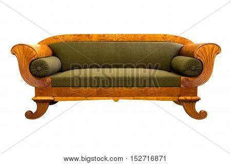 Antique Biedermeier sofa isolated with authentic fabric and woor carving