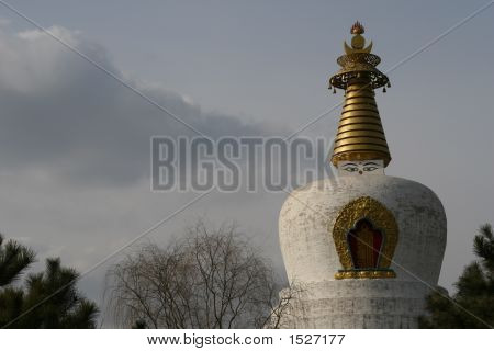white pagoda in shenyang city of china asia poster