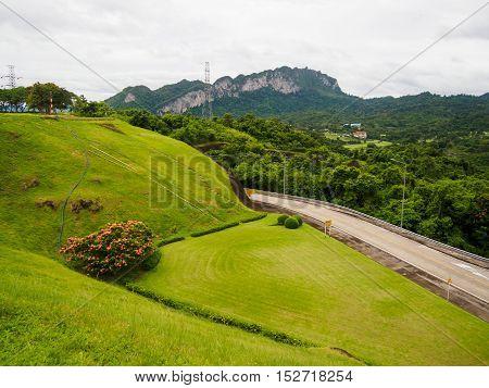 grass field at Ratchaprapha Dam Surat Thani province,Thailand