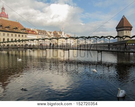 21 December 2012: Lucerne / Luzern, Switzerland. Footbridge Crossing The Reuss River In The Middle O