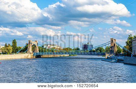 Grunwaldzki suspension bridge over river Odra in Wroclaw - Poland