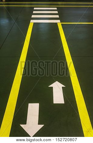 walkway Zebra pedestrian  crossing in a factory