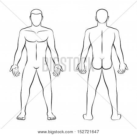 Nude man - outline illustration - front view and back view.