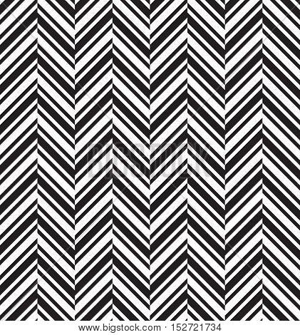 Black and white herringbone chevron fabric seamless pattern, vector background