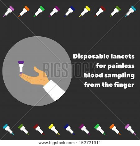 vector illustration of the hand and disposable lancets for painless blood sampling from the finger