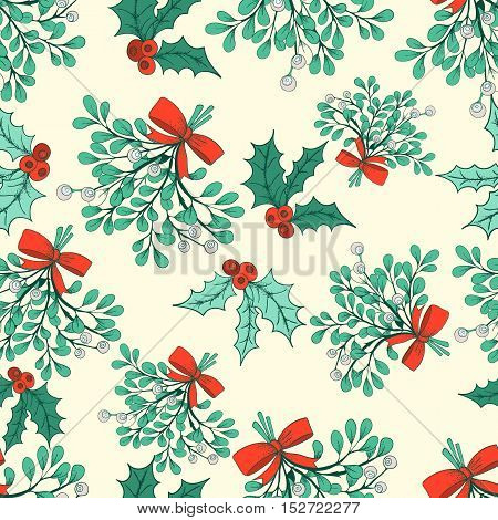 Vector Christmas seamless pattern with branches of mistletoe. For fabric wrapping paper print and web projects. Greeting card design. Vector mistletoe. Winter template.