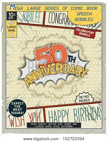 50 th anniversary. Happy birthday placard. Explosion in comic style with realistic puffs smoke. Vector vintage banner poster for web and print template
