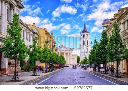Gediminas Avenue And Cathedral Square, Vilnius, Lithuania,