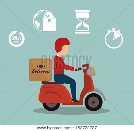 free delivery boy driver motr bike set icon vector illustration