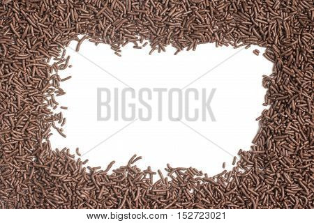 Chocolate Vermicelli. Chocolate Sprinkles Frame on white background