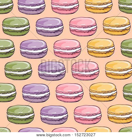 Vector seamless pattern with cute colorful macaroons cookies.Hand drawn macaroon design Perfect for bakery shop advertising invitation valentine card.