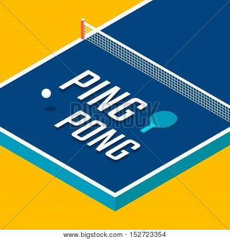 Ping-pong poster design. Table tennis. Vector illustration