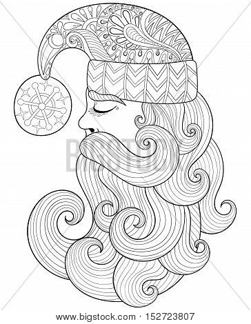 Vector Christmas illustration, zentangle Santa Claus for adult antistress coloring pages. Hand drawn illustration for New Year 2017, Christmas greeting cards, posters, invitation. A4 size. Eps10.