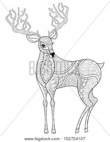 Vector Zentangle Christmas Reindeer Horned Elk For Adult Antistress Coloring Pages Hand Drawn Illustration