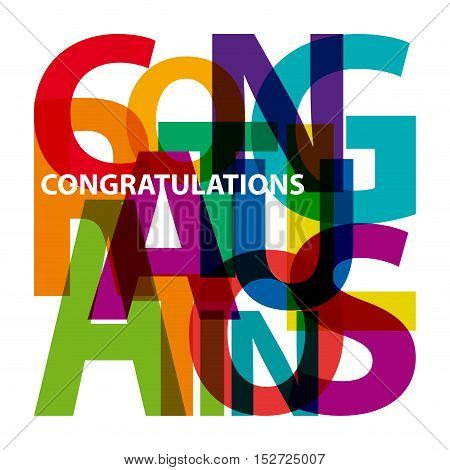 Vector congratulations. Isolated confused broken colorful text