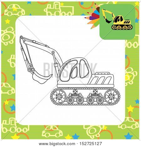 Dredge cartoon toy. Coloring page. Vector illustration