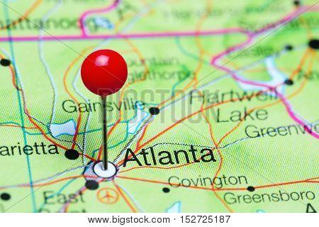 Atlanta pinned on a map of Georgia, USA