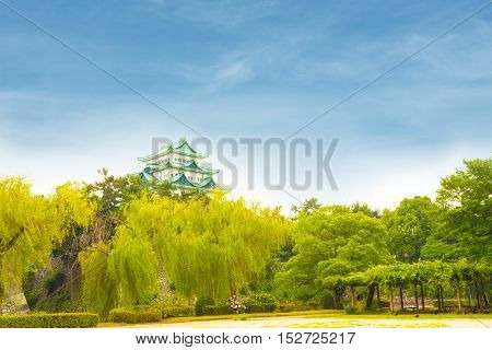 Nagoya Castle Clear Blue Day Sky Above Trees H
