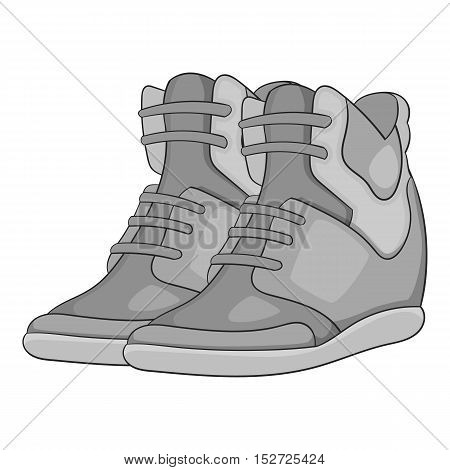 Women autumn sneakers icon. Gray monochrome illustration of women autumn sneakers vector icon for web