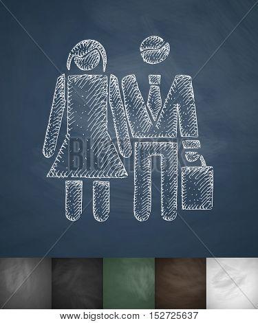buyers icon. Hand drawn vector illustration. Chalkboard Design